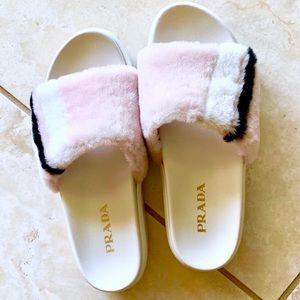 PRADA shearling fur platform slide sandal